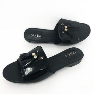 Van Eli Black Patent Leather Tassel Sandals Slides